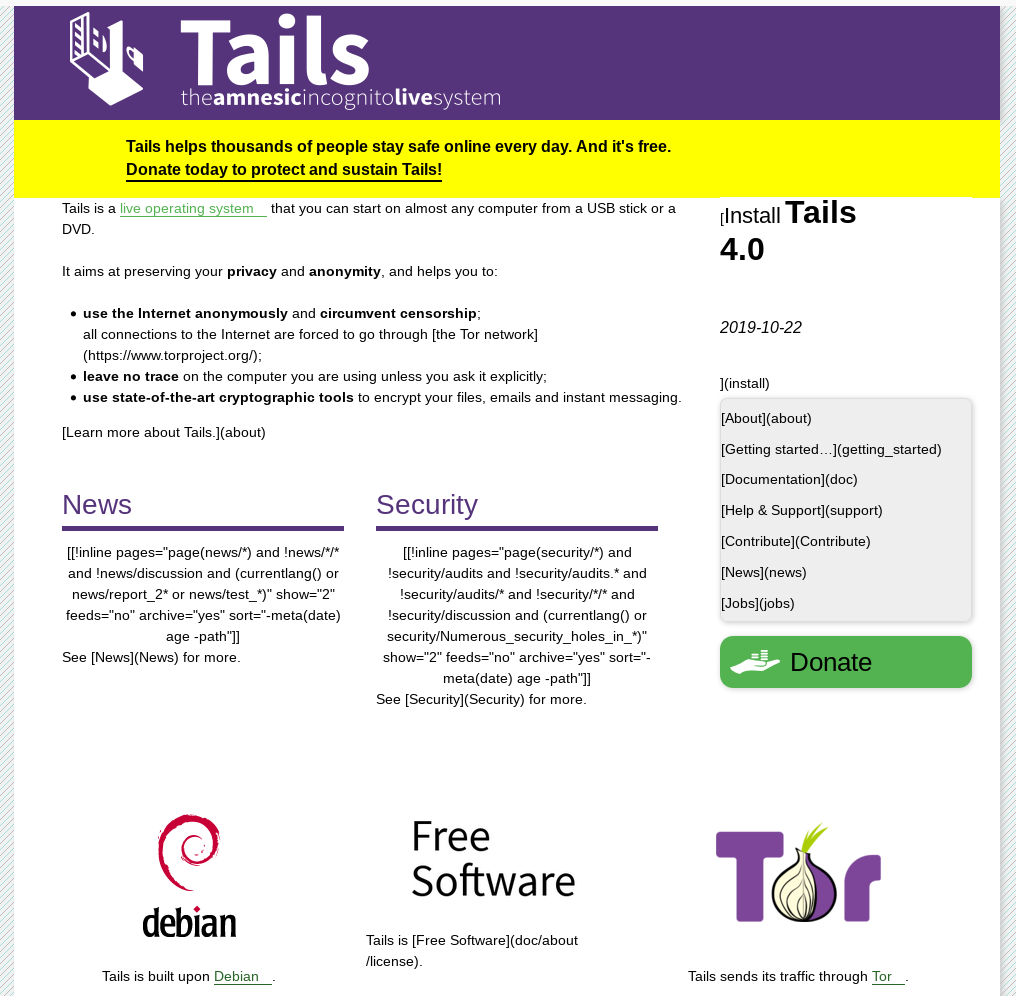 Screenshot of the Tails website built with hugo